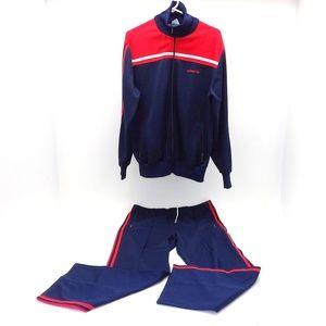 Adidas Track Suit Vintage 1970's-1980's Blue/Red L